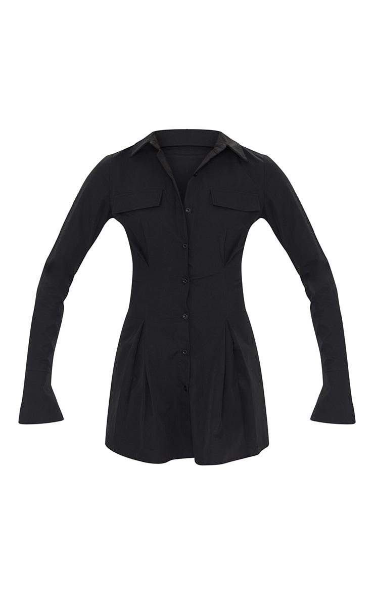 Tall Black Pocket Detail Cargo Cinched Waist Shirt Dress 5