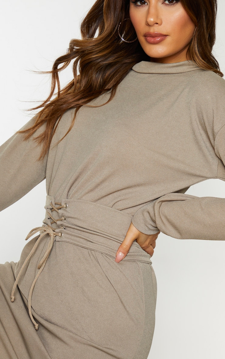 Tall Stone Corset Detail Crepe Oversized Sweater Dress 4