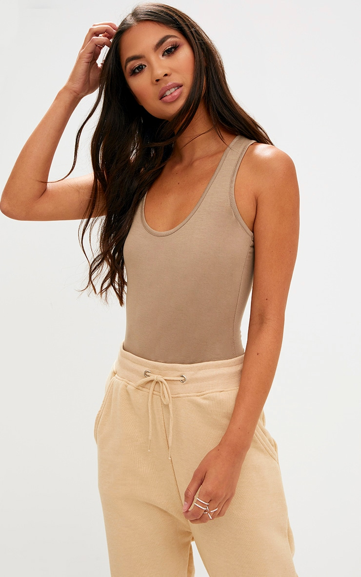 Basic Camel & Taupe Racer Back Bodysuit 2 Pack 2