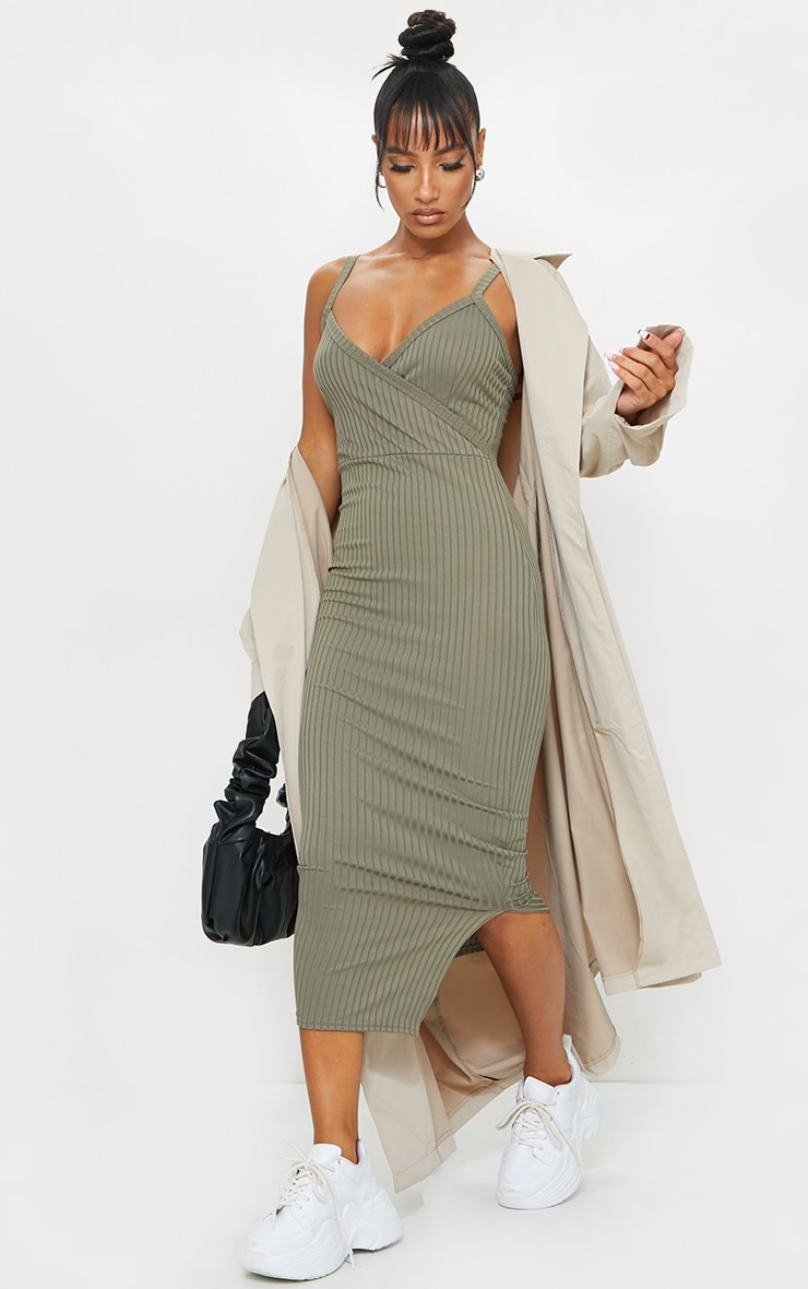 Olive Khaki Ribbed Wrap Front Strappy Midi Dress 1