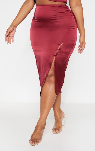 Plus Burgundy Button Detail Midi Skirt