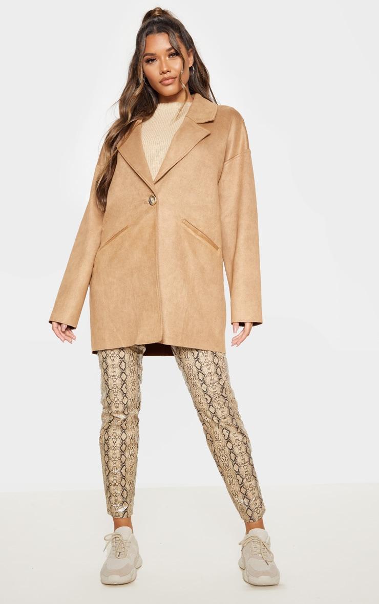 Camel Cocoon Faux Suede Coat 4