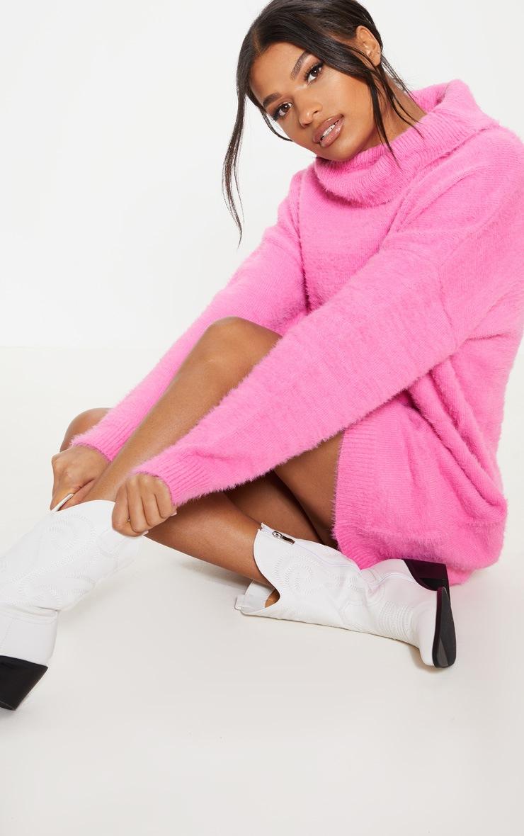Pink Knitted High Neck Jumper Dress  4
