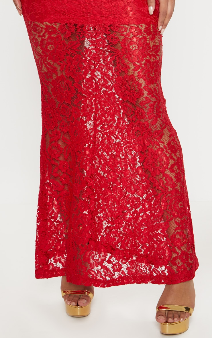 Tarra Red Lace Fishtail Maxi Dress 5