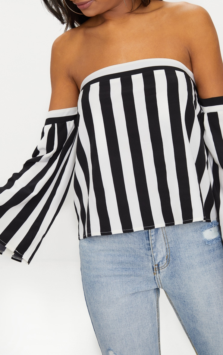 Black Bold Stripe Bardot Blouse 5
