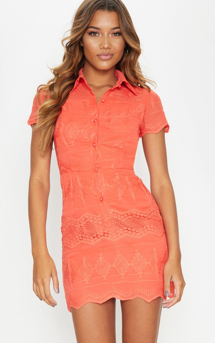 Coral Embroidered Lace Button Detail Shift Dress 1