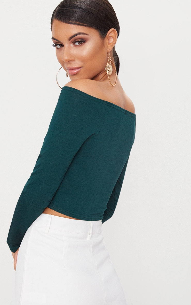 Emerald Green Slinky Ruched Front Long Sleeve Crop Top  2