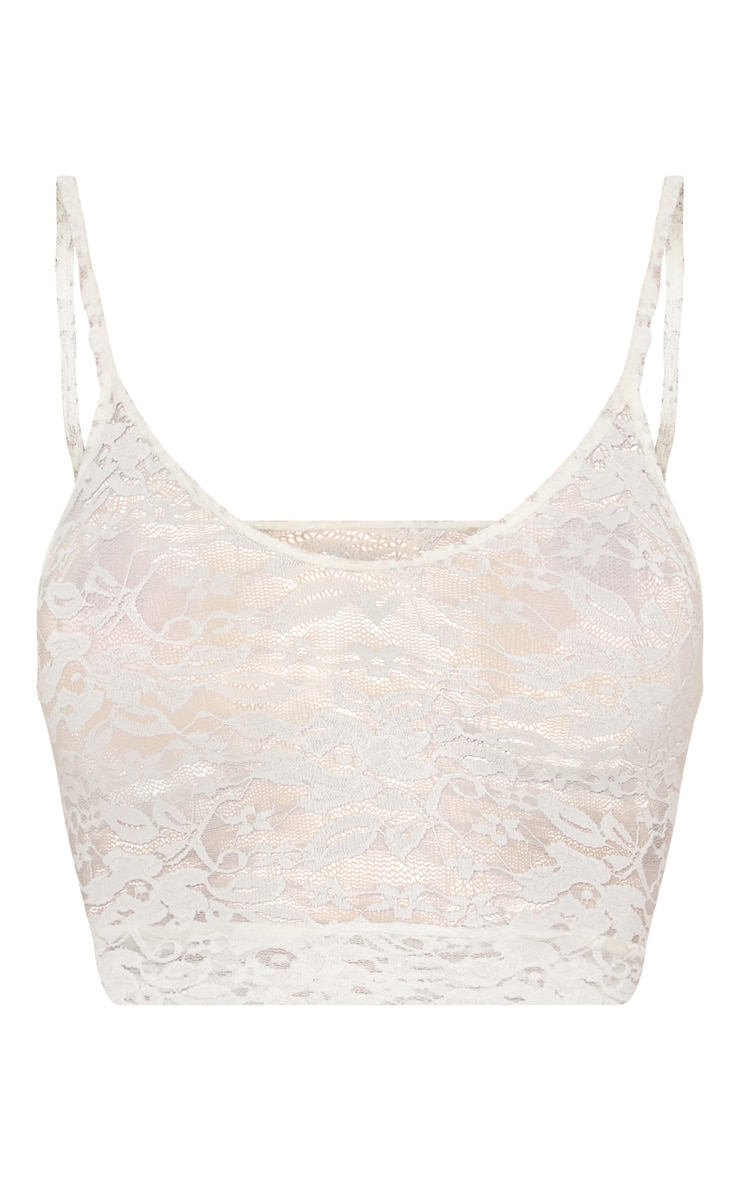 White Lace Scoop Neck Strappy Crop Top 3