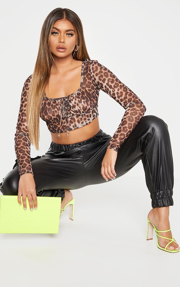 Leopard Print Mesh Tie Front Long Sleeve Crop Top 4