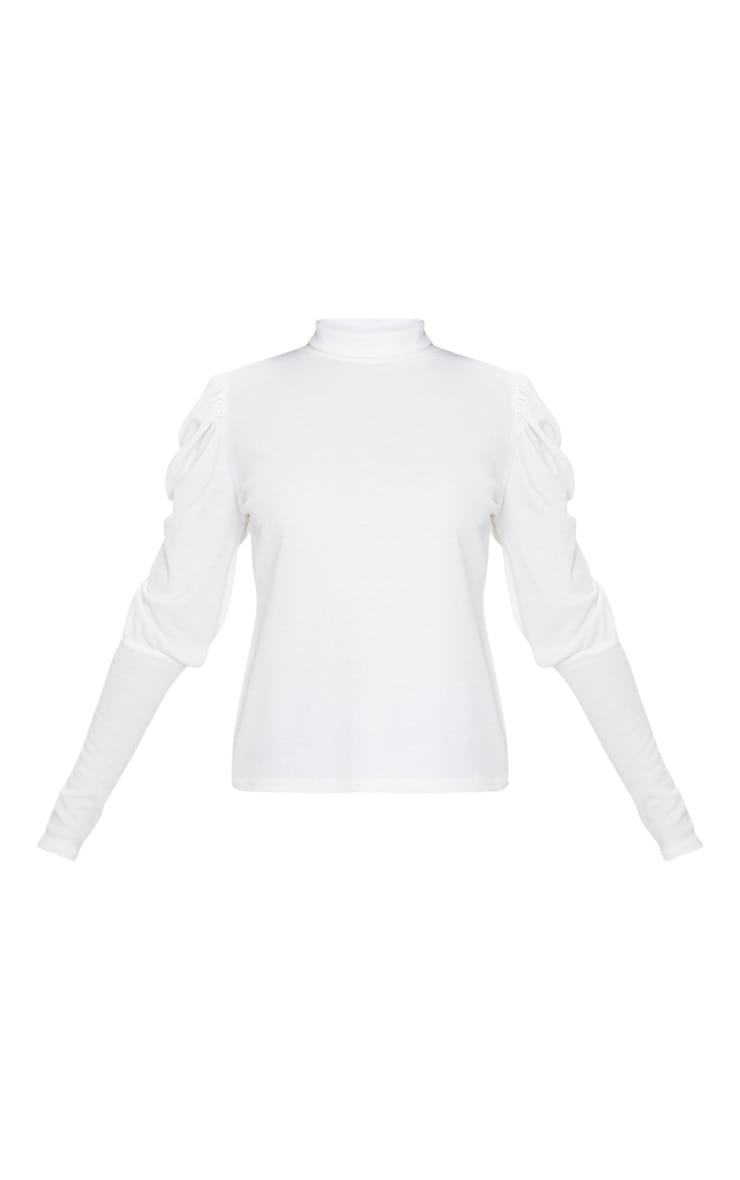 White Rib Puff Sleeve Long Top 3