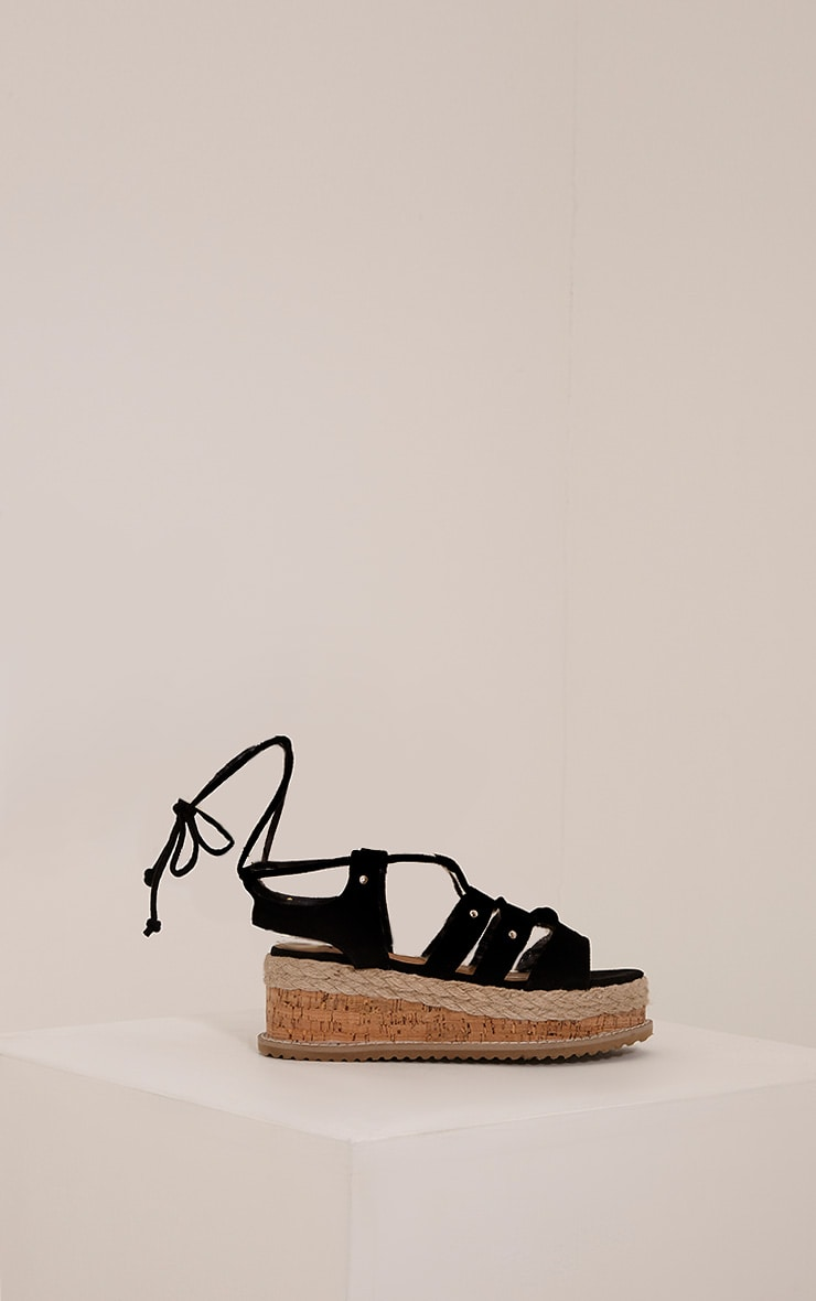 Adelina Black Lace Up Flatform Sandals 3