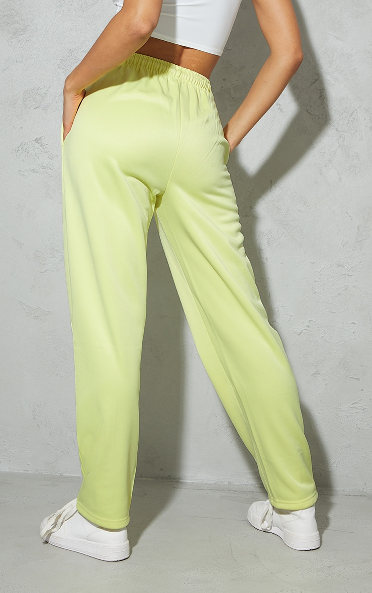 Pale Yellow Popper Front Track Joggers 3