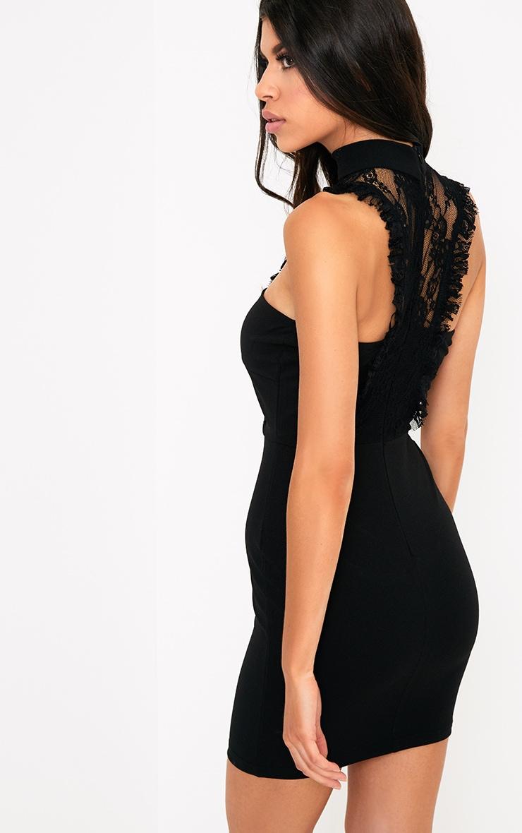 Jessalyn Black Lace Overlay High Neck Bodycon Dress 2