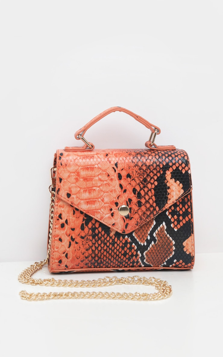 Orange Snake Envelope Mini Cross Body Bag  3