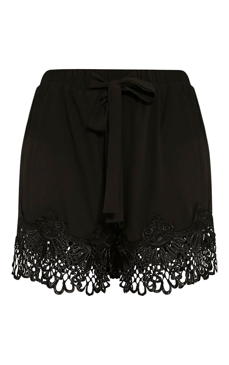 Felicity Black Crochet Lace Trim Shorts 3