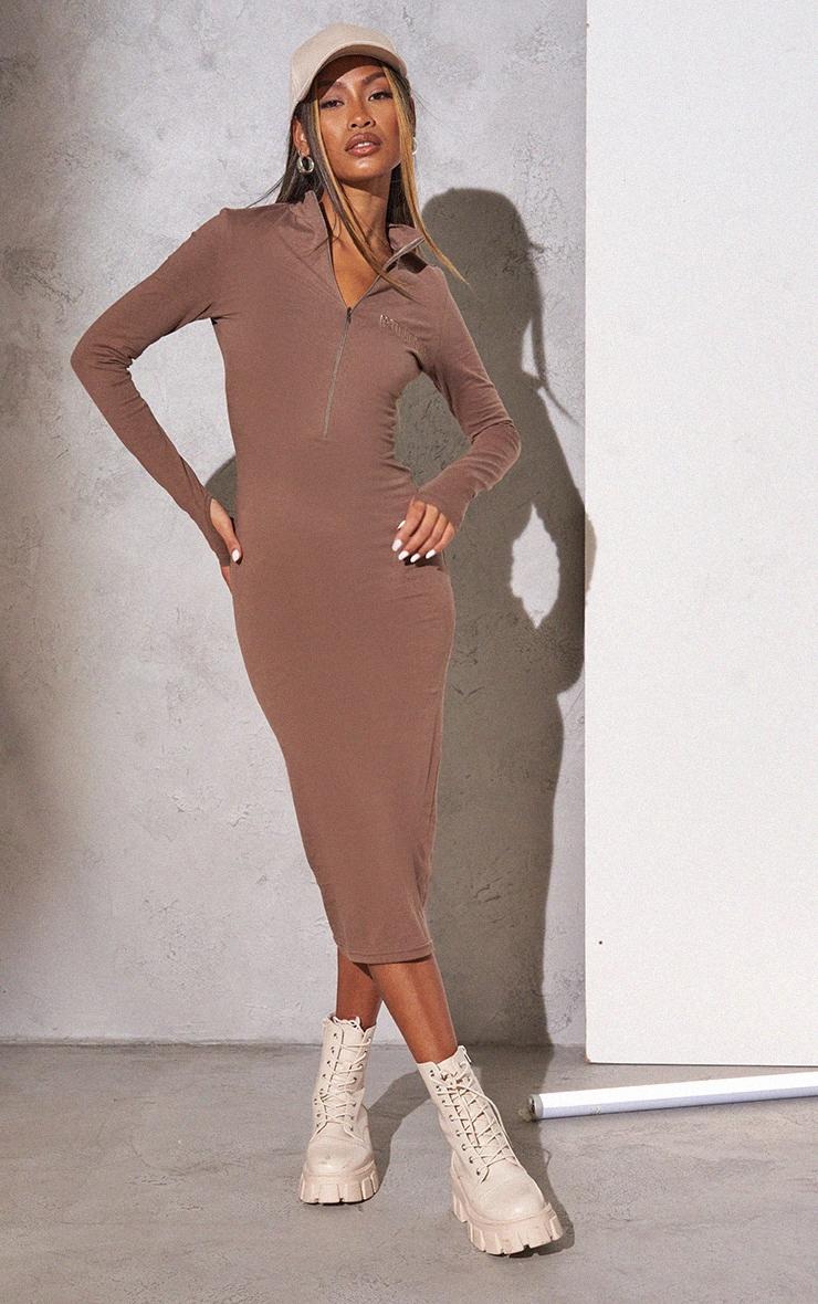 RENEW PRETTYLITTLETHING Light Chocolate Slogan Zip Front Long Sleeve Midi Dress 1