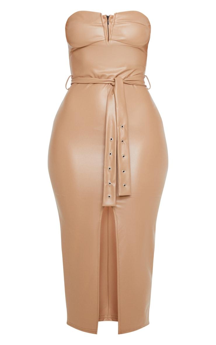 Camel PU Bandeau Belted Split Detail Midi Dress 3