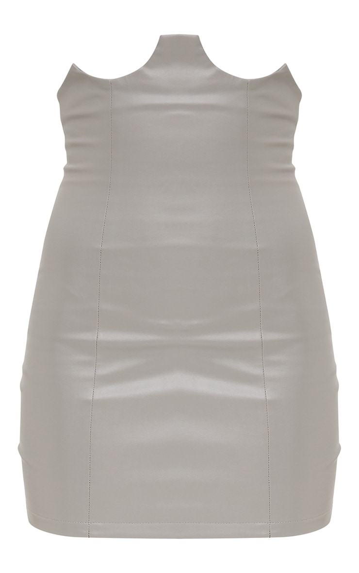 Grey Faux Leather Bustier Skirt 3