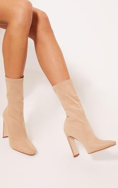 Sand Lycra Heeled Sock Boot