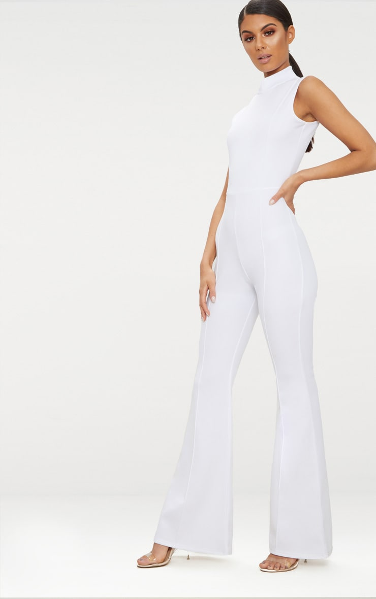 Orange High Neck Seam Detail Jumpsuit 4