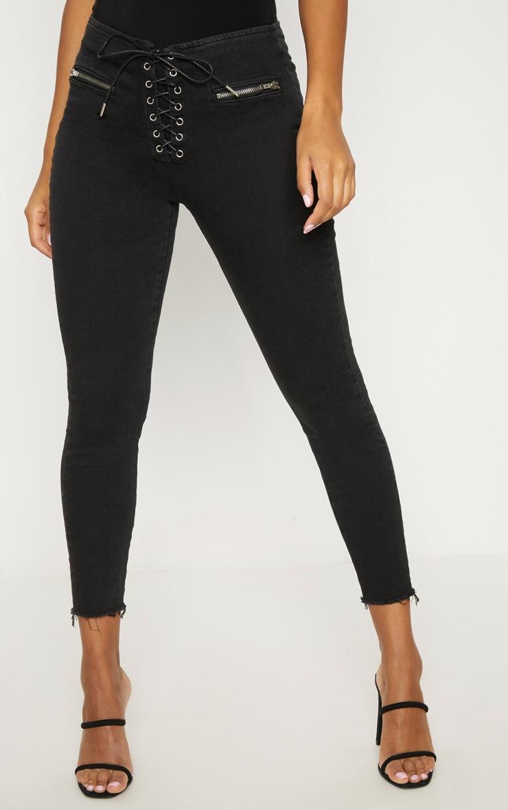 Black Lace Up Denim Skinny Jean 2