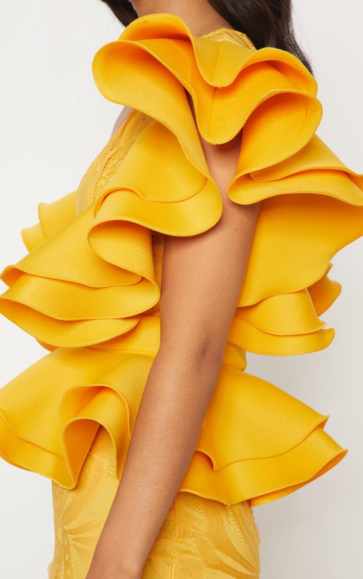 Mustard Ruffle Detail Plunge Midi Dress 4