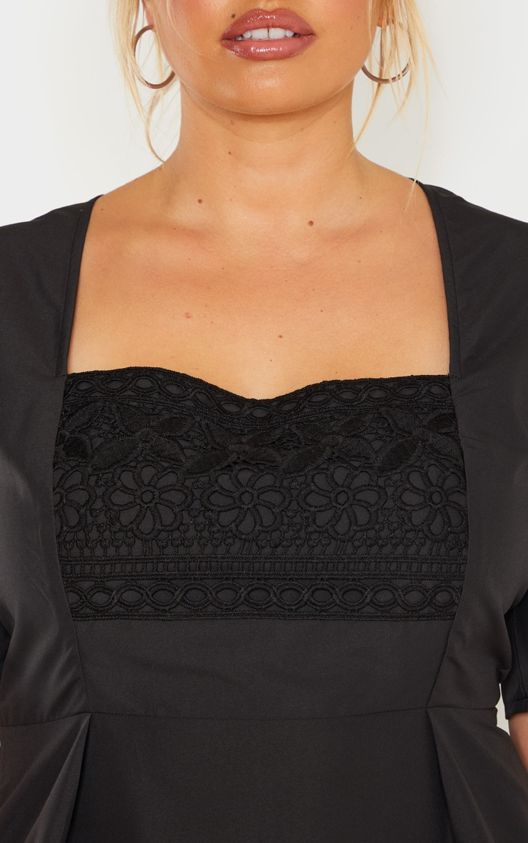 Plus Black Crochet Detail Short Sleeve Top 5
