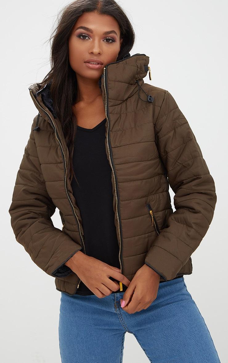Mara Khaki Puffer Jacket 1
