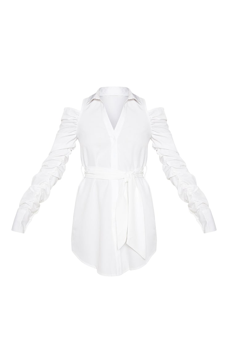 White Cold Shoulder Ruched Shirt Dress 3