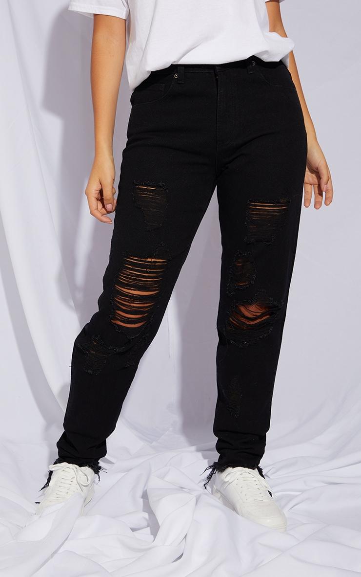 Petite Black Distressed Raw Hem Jeans 2
