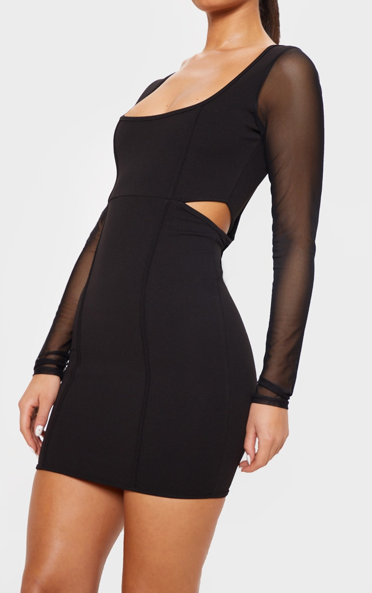 Black Mesh Sleeve Cut Out Bodycon Dress 5