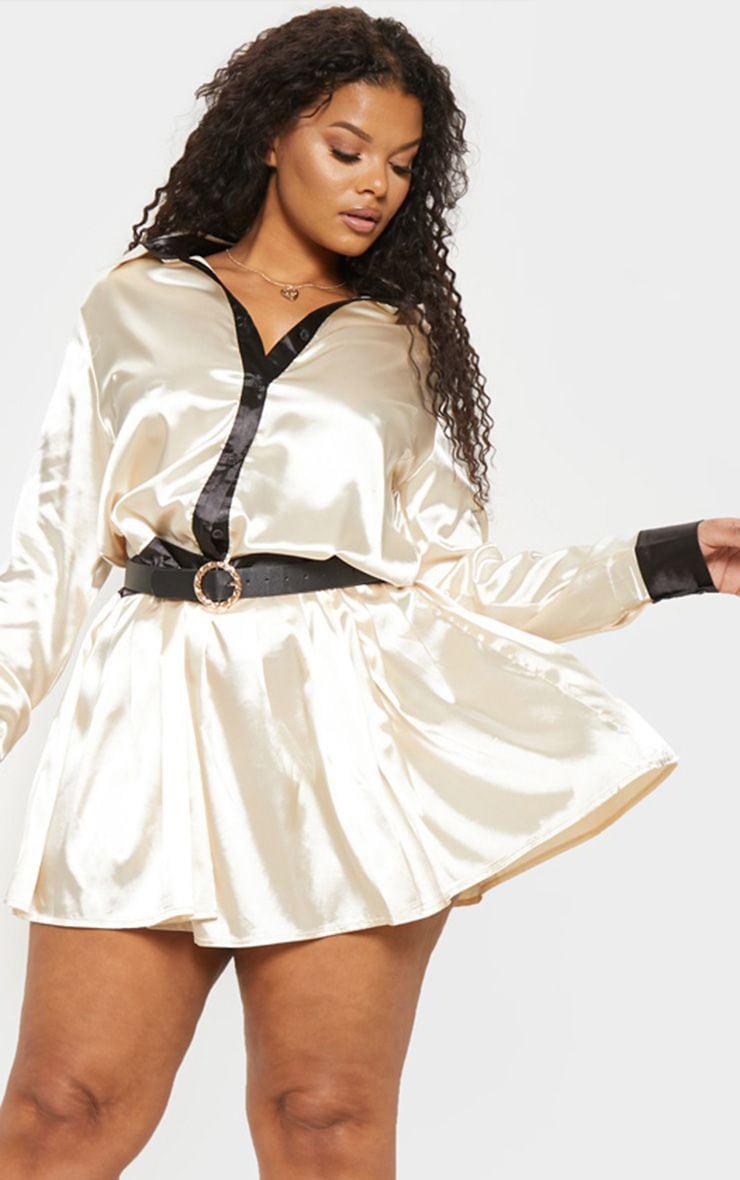 Plus Cream Pleated Skirt Shirt Dress  1