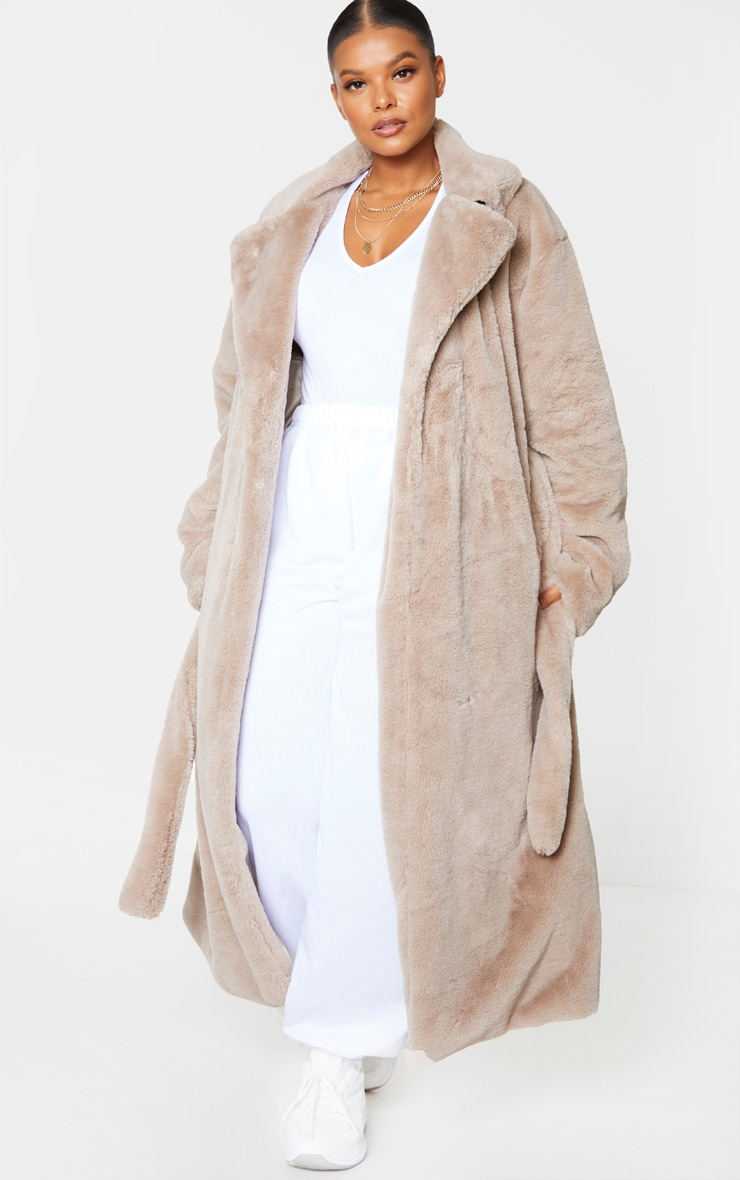 Plus Taupe Belted Faux Fur Coat 1