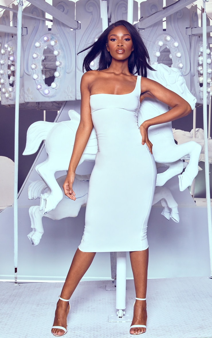 White One Shoulder Midaxi Dress
