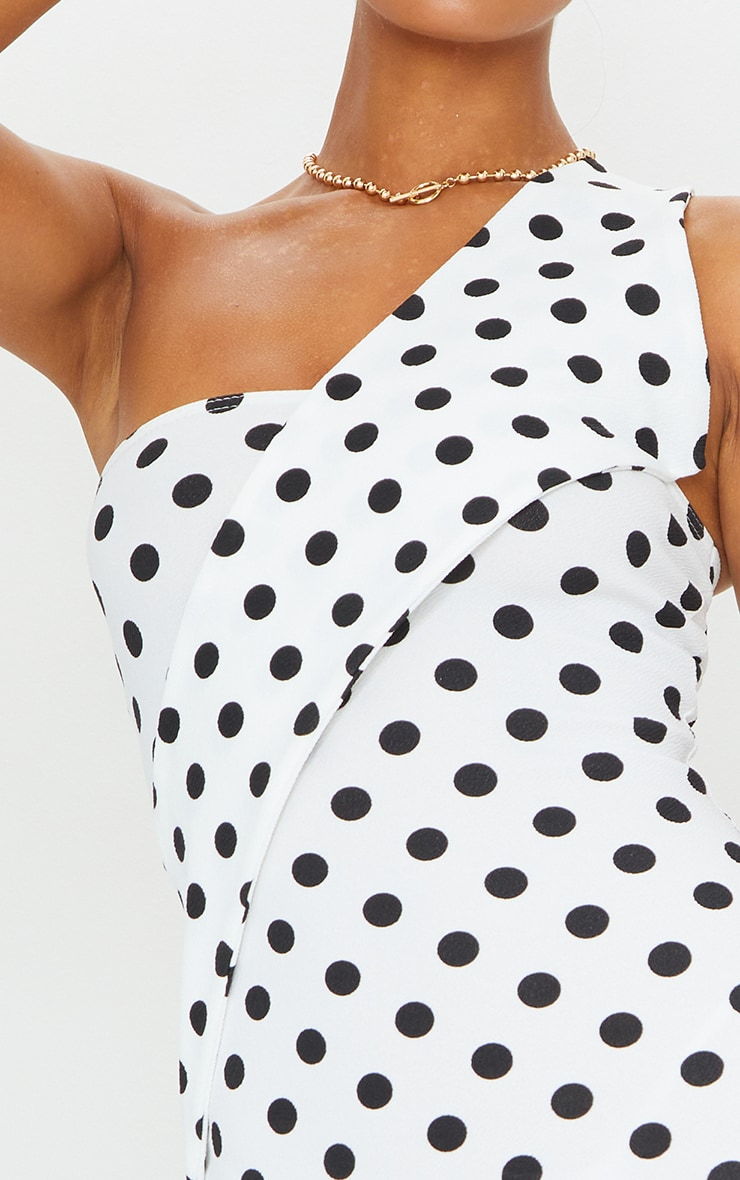 White Polka Dot Asymmetric Strap Midi Dress 4
