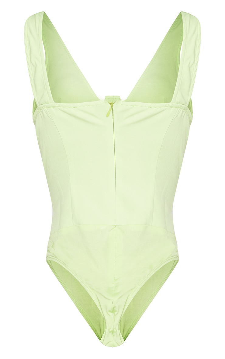 Tall - Body style corset vert citron en maille tissée 6