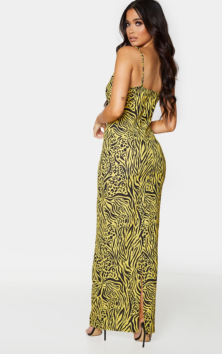 Yellow Mixed Animal Print Strappy Cowl Neck Maxi Dress 2