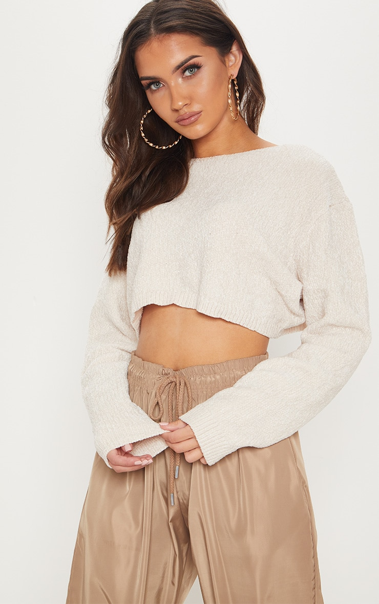 Cream Chenille Cropped knitted Jumper  4
