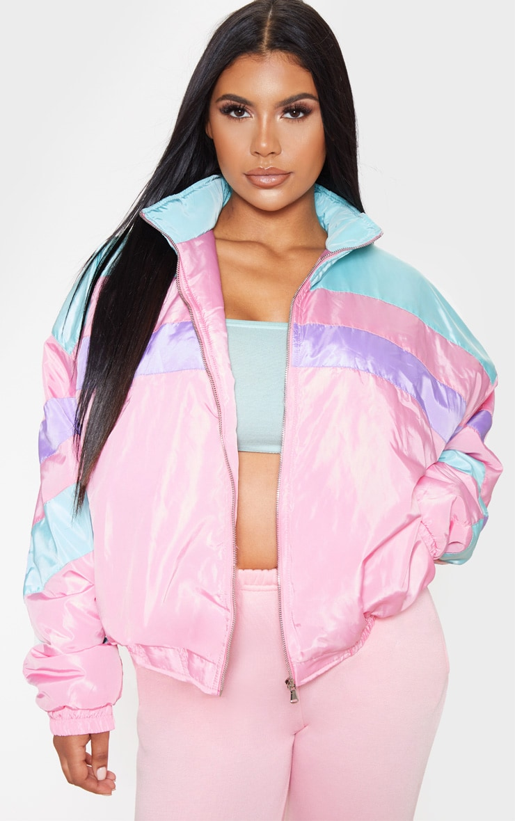Pink Padded Stripe Detail Bomber 4