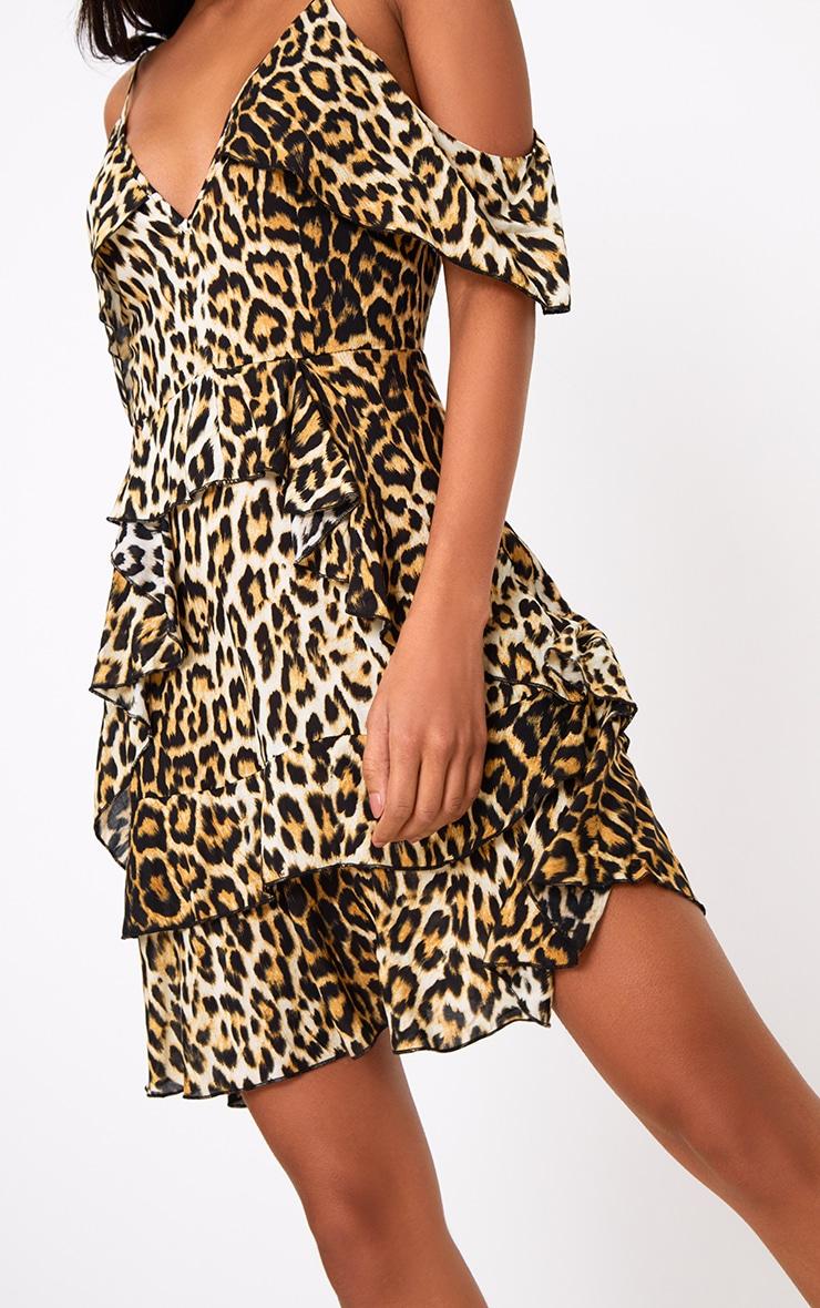 Leopard Print Ruffle Detail Shift Dress 5