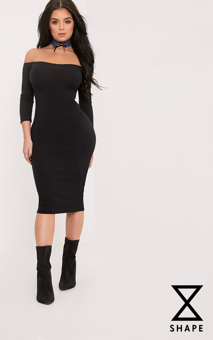 Shape Ailanna Black Ribbed Midi Bardot Dress 1