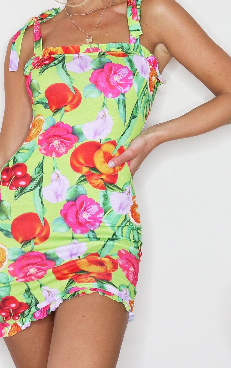 Lime Fruit Print Frill Tie Shoulder Bodycon Dress 4