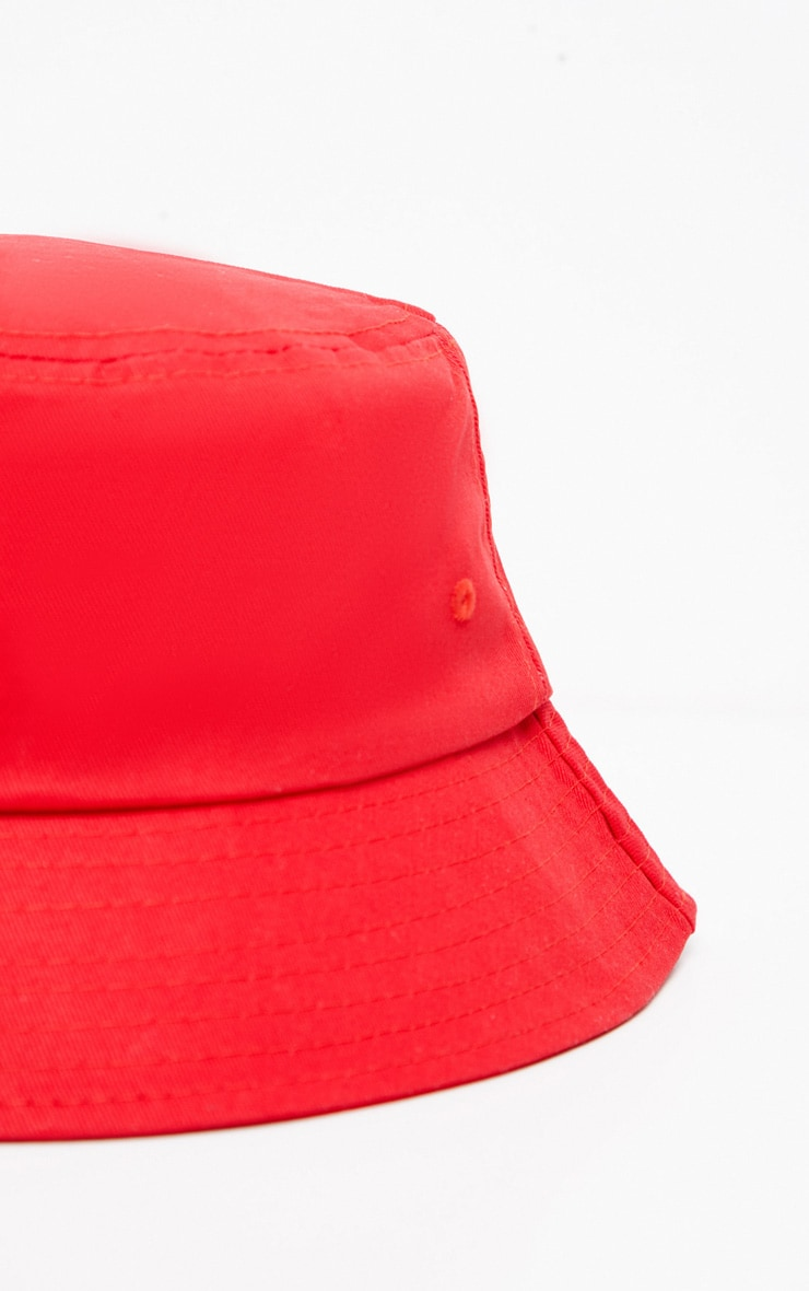 Red Plain Bucket Hat 3