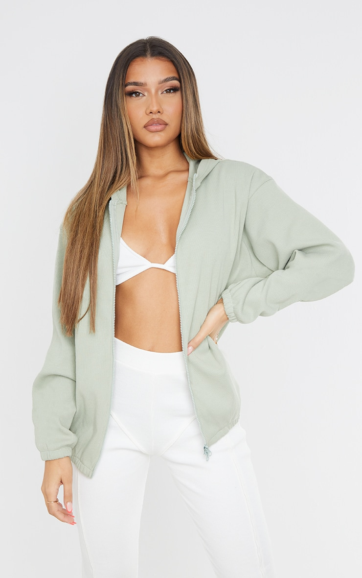 Sage Green Oversized Rib Zip Up Hoodie
