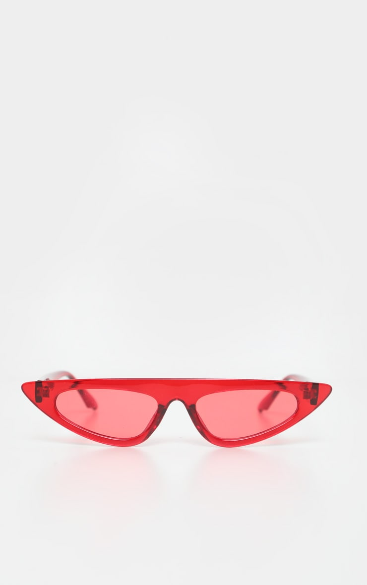Red Flat Top Slim Cateye Sunglasses 2