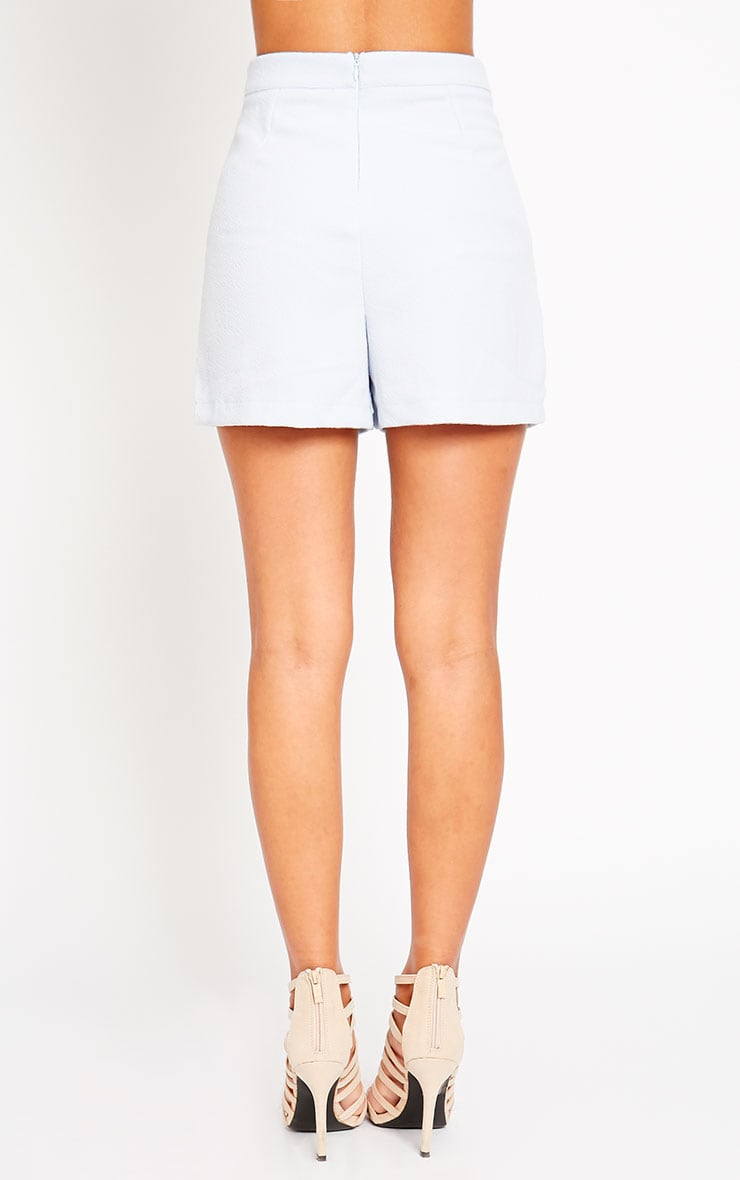 Raissa Powder Blue Notch Front High Waist Shorts 4