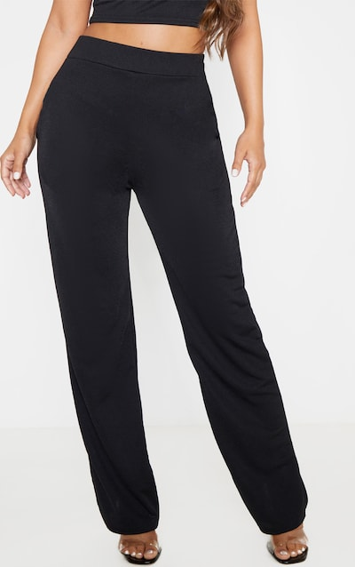 Petite Black Crepe Wide Leg Trouser