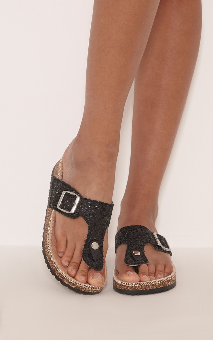 Emiliya Black Glitter Strap Sandals 1