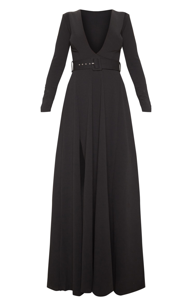 Black Long Sleeve Plunge Belted Maxi Dress 3