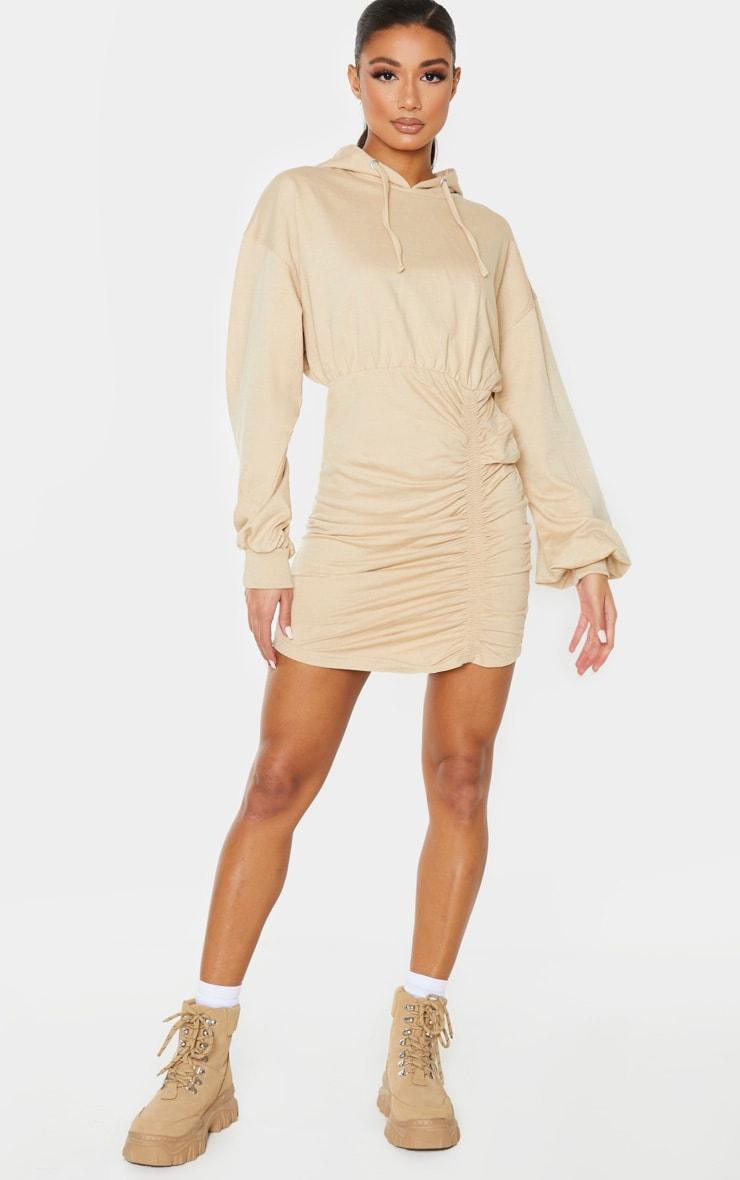 Camel Ruched Skirt Hoodie Dress 4